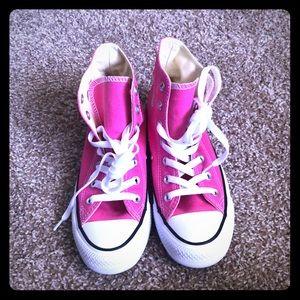 NWOT pink high top converse